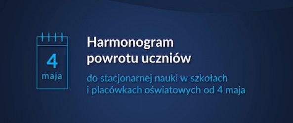 Harmonogram powrotu uczniów do stacjonarnej nauki w szkołach